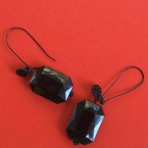 "Dramatic black drop earrings.  About 3"" long."